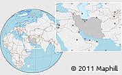Gray Location Map of Iran, lighten, land only