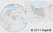 Gray Location Map of Iran, lighten, semi-desaturated