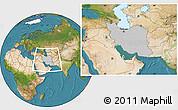 Gray Location Map of Iran, satellite outside