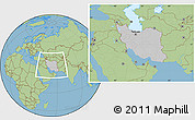 Gray Location Map of Iran, savanna style outside