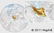 Physical Location Map of Iran, lighten, desaturated