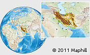 Physical Location Map of Iran, lighten, land only