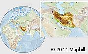 Physical Location Map of Iran, lighten