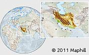 Physical Location Map of Iran, lighten, semi-desaturated