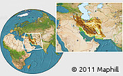 Physical Location Map of Iran, satellite outside
