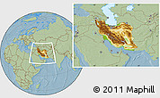 Physical Location Map of Iran, savanna style outside, hill shading