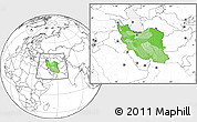 Political Location Map of Iran, blank outside