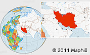 Political Location Map of Iran, highlighted continent