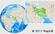 Political Location Map of Iran, shaded relief outside