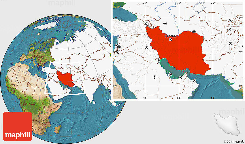 Satellite Location Map of Iran highlighted continent