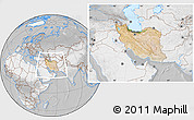 Satellite Location Map of Iran, lighten, desaturated