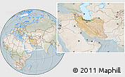 Satellite Location Map of Iran, lighten