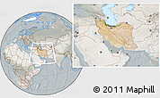 Satellite Location Map of Iran, lighten, semi-desaturated