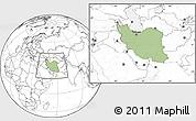 Savanna Style Location Map of Iran, blank outside