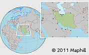 Savanna Style Location Map of Iran, gray outside