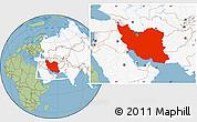 Savanna Style Location Map of Iran, highlighted continent
