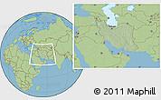 Savanna Style Location Map of Iran, hill shading inside