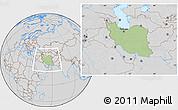 Savanna Style Location Map of Iran, lighten, desaturated