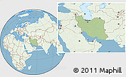 Savanna Style Location Map of Iran, lighten, land only