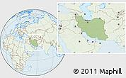 Savanna Style Location Map of Iran, lighten