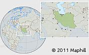 Savanna Style Location Map of Iran, lighten, semi-desaturated