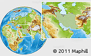 Savanna Style Location Map of Iran, physical outside