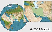 Savanna Style Location Map of Iran, satellite outside