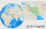 Savanna Style Location Map of Iran, shaded relief outside