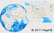 Shaded Relief Location Map of Iran, lighten, land only