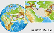 Shaded Relief Location Map of Iran, physical outside
