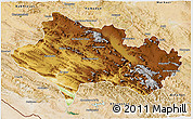 Physical 3D Map of Lorestan, satellite outside