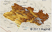 Physical 3D Map of Lorestan, shaded relief outside