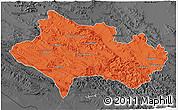 Political 3D Map of Lorestan, darken, desaturated
