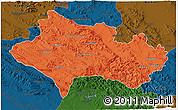 Political 3D Map of Lorestan, darken