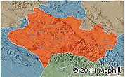 Political 3D Map of Lorestan, semi-desaturated