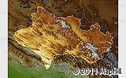 Physical Map of Lorestan, darken