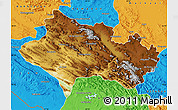 Physical Map of Lorestan, political outside