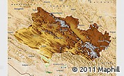 Physical Map of Lorestan, satellite outside