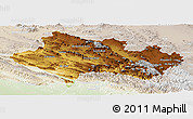 Physical Panoramic Map of Lorestan, lighten