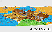 Physical Panoramic Map of Lorestan, political outside