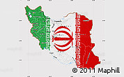 Flag Map of Iran, flag aligned to the middle