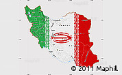 Flag Map of Iran, flag rotated