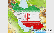 Flag Map of Iran, physical outside