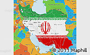 Flag Map of Iran, political outside