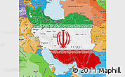 Flag Map of Iran, political shades outside
