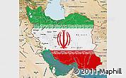 Flag Map of Iran, satellite outside