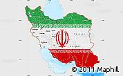 Flag Map of Iran, single color outside, bathymetry sea