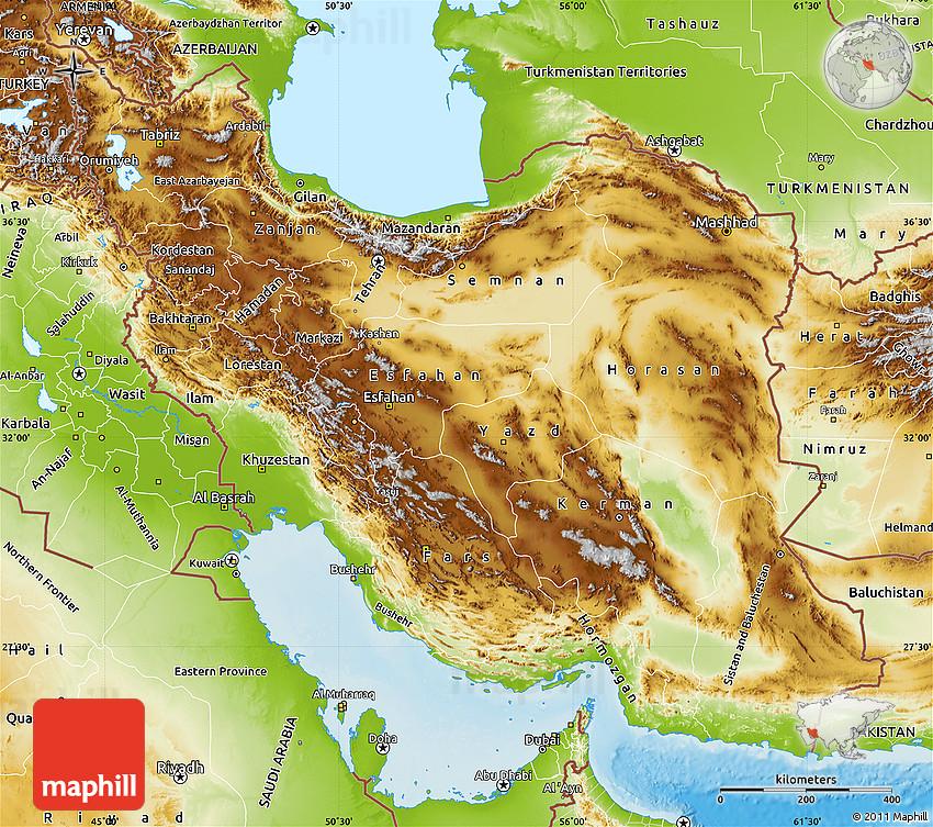 Physical Map Of Iran - Iran map
