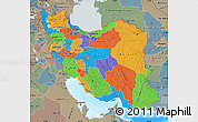 Political Map of Iran, semi-desaturated, land only