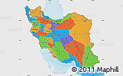 Political Map of Iran, single color outside